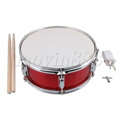 "14""Percussion Red Snare Drum with Drum Strap Stick Key for Beginners Kid"