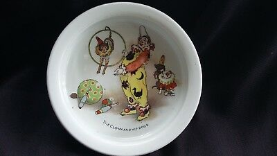 ANTIQUE PORCELAIN CHILDS BOWL WITH CIRCUS THEME.Babies bowl.childrens bowl
