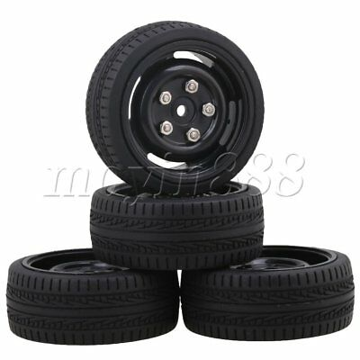 4 Sets Black Plastic 4-Holes Wheel Rims & Arrow Tyres for RC1:10 On Road Car