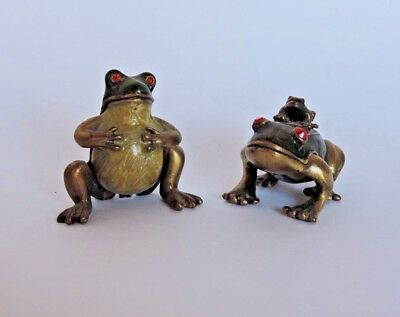 Frog Family Trinket Box Dad  Mom and Little Froggy.