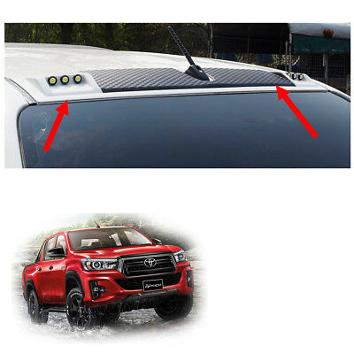 Fits Toyota Hilux Revo Rocco 18 2019 Front DRL Roof Spoiler With LEDs Trim White