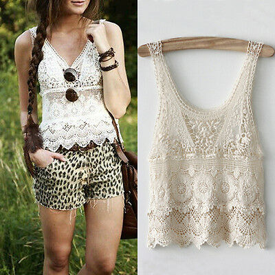 Chic Women Summer Sexy Hippie Boho Crochet Lace Beige Vest Tank Top Blouse Short