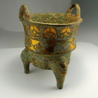 2300 Years Old! Han Dynasty Archaic Bronze 24K Gold Inlay 300 BC Ritual Chinese