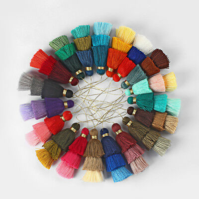 77mm Long Cotton Tassels 3 Layered Colourful Charms Jewelry Earrings Findings