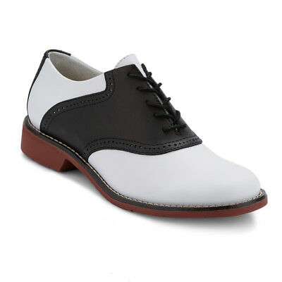 G.H. Bass & Co. Womens Dora Genuine Leather Two-Tone Saddle Lace-up Oxford Shoe