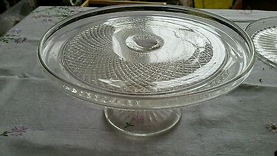 Vintage pressed glass cake stand ideal for weddings or cake tea shop