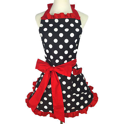 Bib Cute Bowknot Apron Cotton Polka Dot Ruffled Dress Mother Kitchen Home Apron