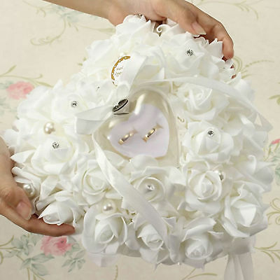 Wedding Ceremony White Satin Crystal Flower Ring Bearer Pillow Cushion Gifts