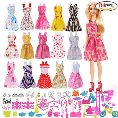 114 Pcs Doll Clothes Party Gown Outfits And Accessories for Barbie Girls Gift