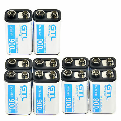 10 pcs Durable 9V 9 Volt 900mAh Power Ni-Mh Rechargeable Battery Cell PPS block'