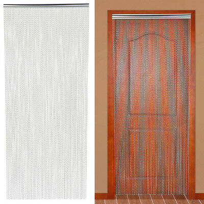 Metal Insect Door Screen Curtain Fly Chain 210 x 90CM,Aluminum,Silver UK Seller