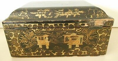 Antique Chinese Hand Painted Gold & Black Lacquer Figures & Pagodas Box Caddy?