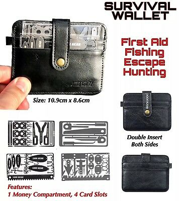 EDC LEATHER WALLET SURVIVAL SET +4 Survival Card Tools Fishing Hunting Medical