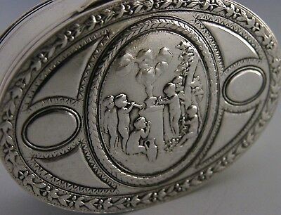 STUNNING FRENCH SOLID SILVER SNUFF or PILL BOX CHERUBS PLAYING ANTIQUE c1900