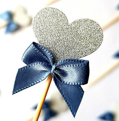12x Silver Heart Cupcake Toppers w Blue Ribbon (party, baby shower, decorations)