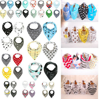 4PCS Infant Kids Baby Bibs Boy Girl Saliva Towel Dribble Triangle Bandana Apron