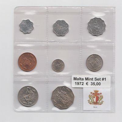 Malta Mint Set 8 Werte 1972 MS1  Nr.1/30/14