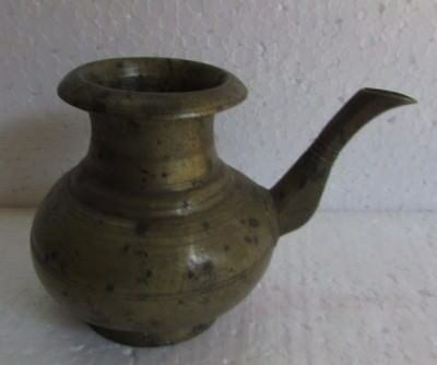 Vintage Old Brass Metal Handcrafted Unique Shape Water Pot Collectible