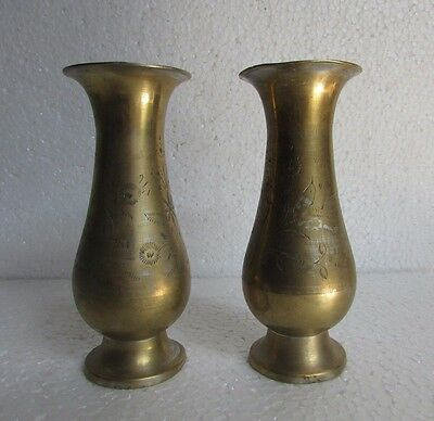 2 Pc Vintage old Brass Engraved Unique Handcrafted Flower Pot / Vase collectible