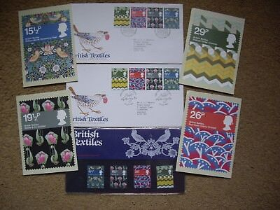 Stamps ,British textile 1982 Presentation Pack,Card Set and Two First Day Covers