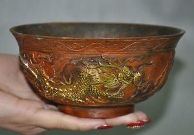 "5"" Collect Old Chinese palace bronze gilt double dragon beast statue bowl cup"