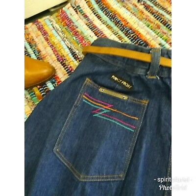 Vintage high waist 70s jeans with 34' inseam funky pocket stitching L deadstock