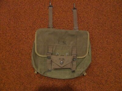 Original WWII US Army M1936 green musette bag dated 1945 w/ 1944 1st aid pouch