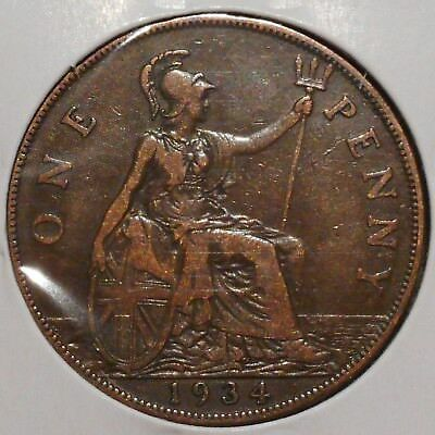 British Large Penny - 1934 - King George V - $1 Unlimited Shipping