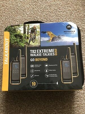 Brand New 4x Motorola T82 Extreme Walkie Talkie Radios Quad Pack Rechargeable