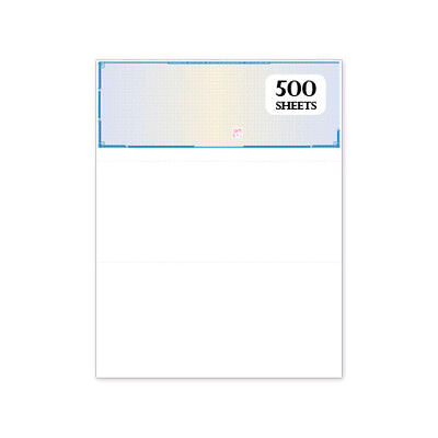 500 High Security Blank Check Paper Blue Prismatic with Padlock Icon and Visible
