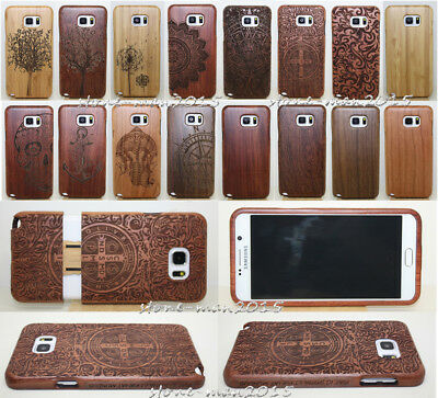 Original Carved Wood Case Bamboo Back Cover+Film For Samsung S9 S8 Plus Note 5