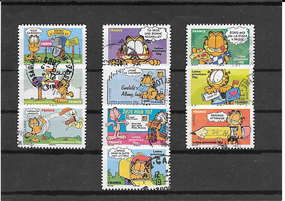 France 2008.sourires.le Chat Garfield.serie Complete De 10 Timbre Aa Cachet Rond