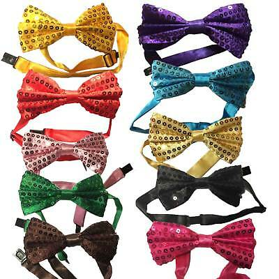Bow Tie Glitter Sparkly Sequin Dickie Dicky Wedding Dance Party Fancy Satin Ties