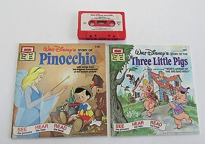 Disney lot: Storyteller tape & books: Three Little Pigs & Pinocchio – excellent