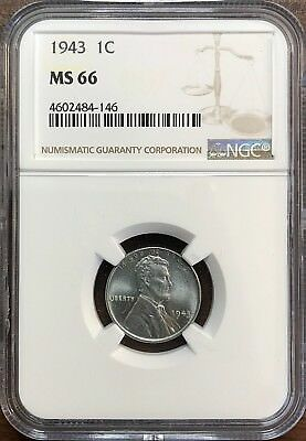 1943 Steel Lincoln Wheat Cent - NGC MS66 - GEM UNCIRCULATED
