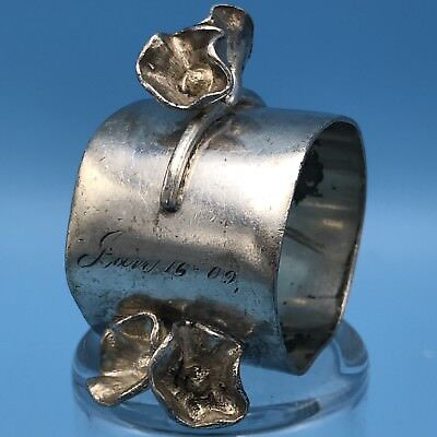 ANTIQUE SILVERPLATE NAPKIN RING ENGRAVED Tom Jan 16 '09 Floral Stand