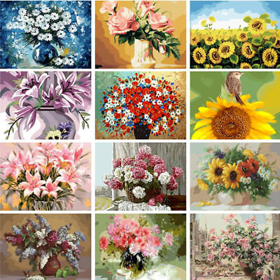 New Various DIY Acrylic Oil Painting Paint By Number Kit Art Wall Decor Flowers
