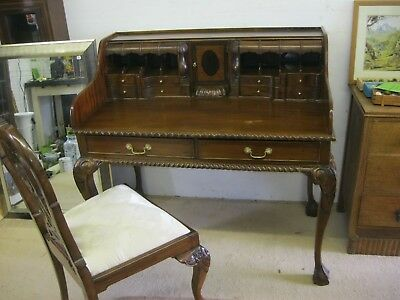 Solid Mahogany Chippendale Writing Desk & Matching Upholstered Chair.delivery