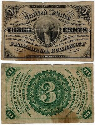 1864 3 Cents FRACTIONAL 3rd Issue Washington FR.1226 3¢ No Reserve!