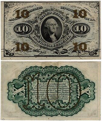 1864 10 Cents FRACTIONAL 3rd Issue Washington FR.1255 10¢ No Reserve!