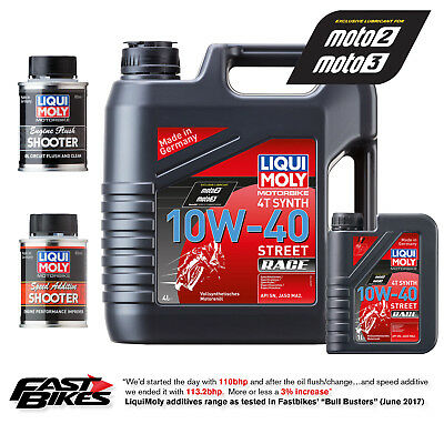 Liqui Moly 4 Stroke 10W-40 5Ltr Race Fully Synthetic Engine Oil Performance Pack