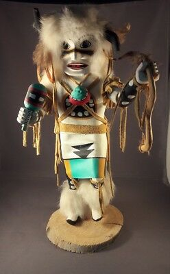"""Navajo Buffalo Dancer Kachina Doll Handcrafted & Painted by Largo 13.5"""" x 5"""""""