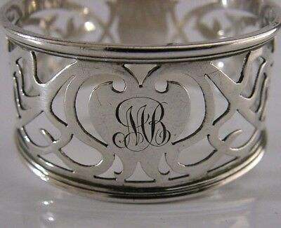 Large Beautiful Edwardian Solid Sterling Silver Art Nouveau Napkin Ring 1905