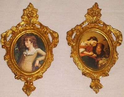 Pair Vintage Miniature Italian Hand Carved Rococo Gold Gilt Wood Frames Ornate