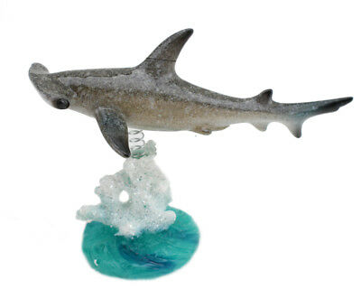 Wiggles Jiggles Swimming Hammerhead Shark On Glazed Coral Base Statue -US Seller