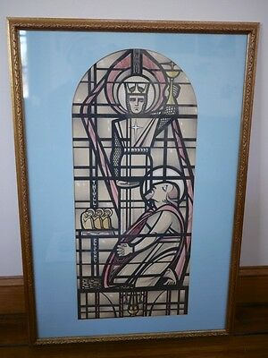 Vtg 30s Stained Glass Art Deco Religious Church Architectural Rendering Painting