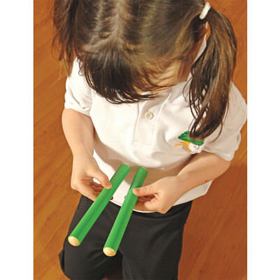 Rhythm Activities Musical Instrument Wooden Percussion Green Tapstick Pair