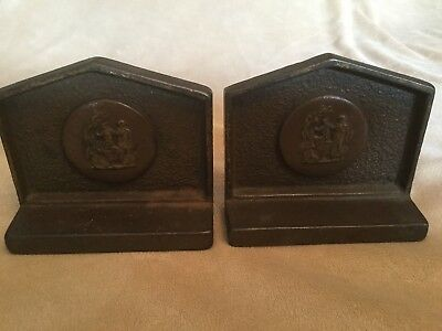 Antique Bronzed Cast Iron Albany Foundry Co BOOKENDS Greek Roman Grecian Maidens