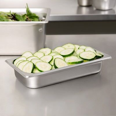 """12 PACK 1/3 Size Stainless Steel Steam Prep Table Pan 12 3/4"""" x 7"""" x 2 1/2"""" Deep"""