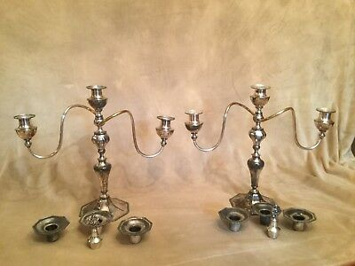 PAIR of Antique VICTOR SILVER CO 3 Light Quadruple Silverplate CANDELABRAS